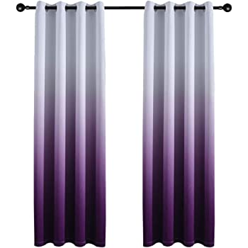 Yakamok Gradient Color Ombre Blackout Curtains Thickening Polyester Thermal Insulated Grommet Window Drapes For Living Room Bedroom Purple 52 X 96