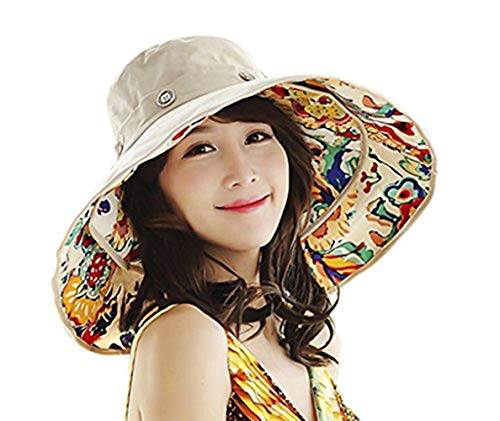 Womens Girls Large Brim Sunhat Summer Sun Bucket Hat Reversible Packable Travel Beach ()
