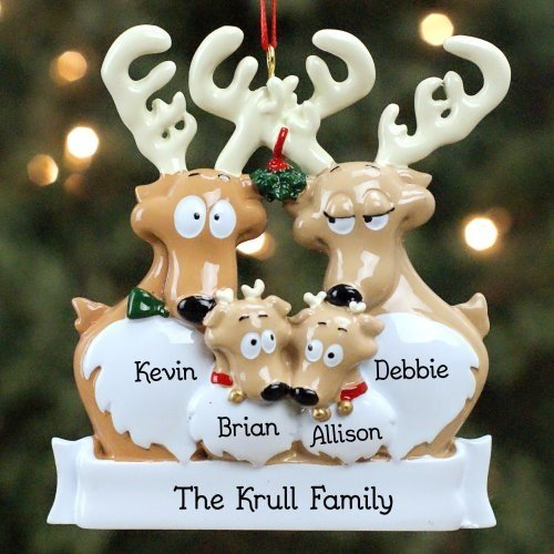 GiftsForYouNow Reindeer Family of 4 Personalized Ornament, 3.5
