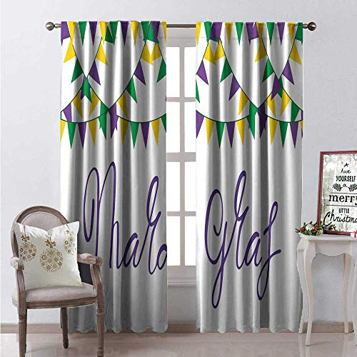 (Hengshu Mardi Gras Window Curtain Drape Handwritten Look Cursive Lettering and Tricolor Flags Customized Curtains W84 x L108 Blue Violet Green Earth Yellow White)
