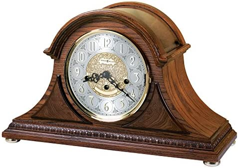 Howard Miller Barrett II Mantel Clock 630-202 Oak Yorkshire Home Decor with Mechanical Key Wound, Single-Chime Movement
