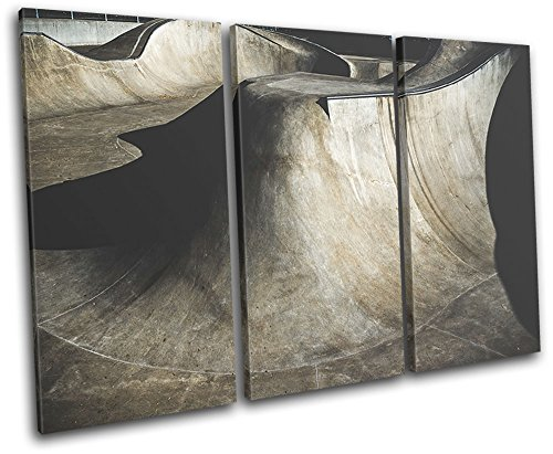 Bold Bloc Design - Skate Park Ramp Abstract Hobbies 150x100cm TREBLE Canvas Art Print Box Framed Picture Wall Hanging - Hand Made In The UK - Framed And Ready To Hang