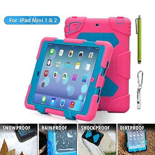 Aceguarder Apple Ipad Mini 1&2&3 Case Waterproof Rainproof Shockproof Kids Proof Case for Ipad Mini 2 Mini 1&2(gifts Outdoor Carabiner + Whistle + Handwritten Touch Pen) (PINK-BLUE)