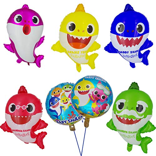 Tuoyi Baby Shark Party Supplies, 2pcs Baby Shark Duplex Prints Foil Balloons, 5pcs Baby Shark Family Balloons, Baby Shark Birthday Party -