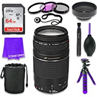 Canon EF 75–300mm f/4–5.6 III USM Lens for Canon DSLR Cameras & SanDisk 64GB Class 10 Memory Card + Complete Accessory Kit (11 Items)