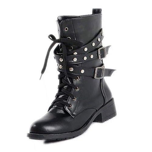 Yudesun Botines Tachuelas Hebilla - Mujer Trabajo Ejército Combate Tacon Bajo Encaje Tobillo Zapatos Retro Motorista Negro Punk Botas: Amazon.es: Zapatos y ...