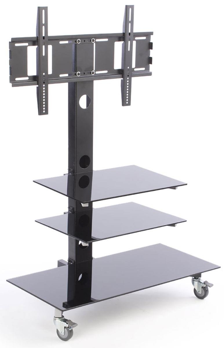 """Displays2go Flat Screen TV Holder for 65"""" Televisions, Wheels, 3 Shelves, Steel Build – Black Finish (WXNTVGBS)"""