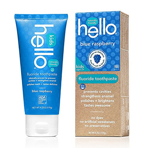 (Hello Oral Care ADA Approved SLS Free Kids Fluoride Toothpaste, Blue Raspberry, 4.2 Ounce)