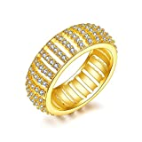 Image of Women Eternity Ring Cubic Zirconia Crystal Circle Round,18k Gold Plated, 12mm Width, Size 7