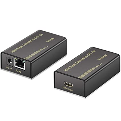 Wsdcam HDMI Extender over CAT6 Ethernet Cable up to 60m/196ft, Support  1080P/3D Video/EDID Copy, Zero Latency/Smart Chip, HDMI over CAT 6 Extender