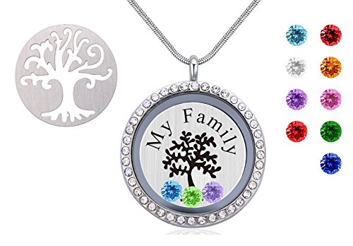 Family Tree Floating Birthstone Necklace - Under $20