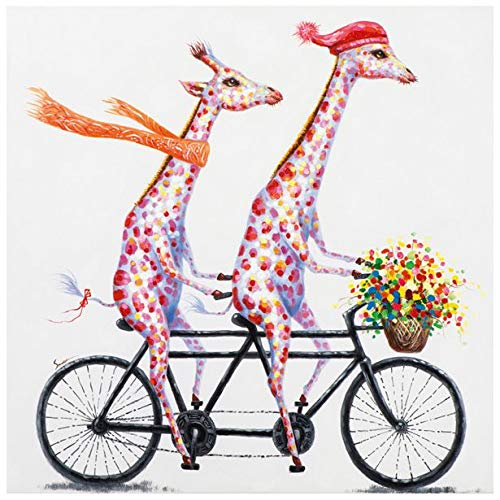 1ad9b6557067c Faicai Art Giraffes with Flowers Paintings Wall Art Canvas Animal Pop Art  Colorful Funny Hand Painted Modern Wall Decor Pictures for Children's Room  ...