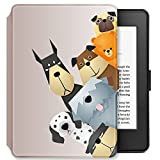 Young me martShell Case for Kindle with Hand Strap - The Thinnest and Lightest Leather Cover Auto Sleep/Wake for New Kindle (8th Gen 2016 Release, Does not fit Kindle Paperwhite) (Dogs Family)