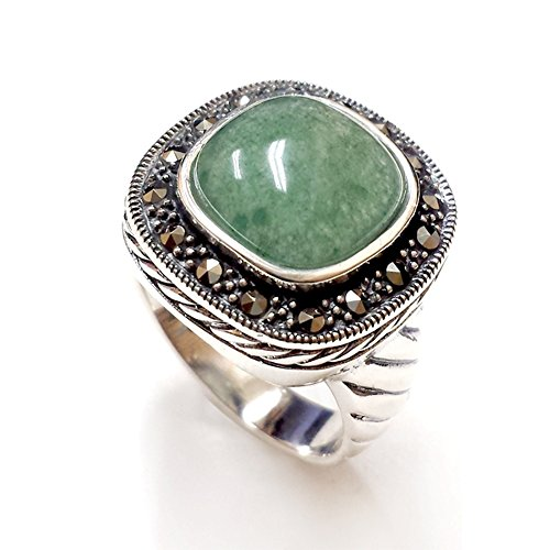 .925 Sterling Silver with Marcasite Natural Square Green Jade Ring ()