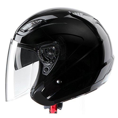 GLX DOT 3/4 Open Face Dual Visor Scooter Motorcycle Helmet Lightweight Gloss Black