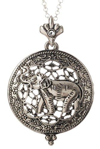 [Elephant 4x Magnifier Magnifying Glass Sliding Top Magnet Pendant Necklace, 30