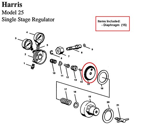 Diaphragm Only for Harris 25 & 29 Series Regulator, Part# 9100146