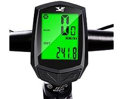 WNPA Bicycle Speedometer Odometer Wireless Waterproof Cycle Bike Computer with LCD Backlight Display Speed Tracker Cycling Ac
