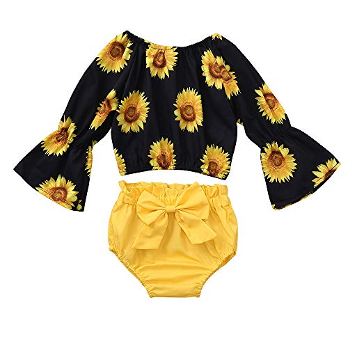 Kehen- Infant Baby Toddler Girls Summer Outfits 2PC Horn Sleeve Daisy Flower T-Shirt Top + Bows Shorts Autumn Clothes (Yellow, 12-18 Months)