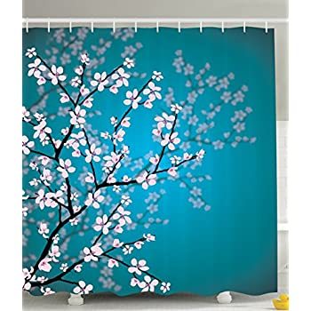 This Item Teal Shower Curtain Pink Blossoms Decor By Ambesonne, Leaves And  Plants Ombre Spring Japanese Sakura Flowers In Garden Park, Fabric Bathroom  ...