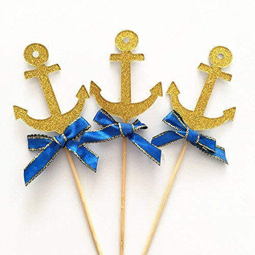 Elfun(TM) Glitter Gold with Blue Bowknot Navy Anchor Sailor Cupcake Topper Kids Boy Birthday Party Baby Shower Cake Decoration -10count (Sailor Decorations)