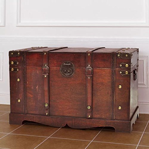 vidaXL Large Wooden Treasure Storage Thunk Blanket Steamer Chest Vintage Antique Style from vidaXL