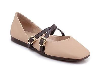 6abc533fa64 Square Head Closed Toe Pumps Women s Flat Shoes Non-Slip Loafers(Apricot 41
