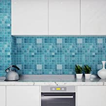 "Chinatera Peel and Stick Tile Kitchen Backsplash Sticker Aluminum Foil Mural Mosaic Wallpaper Waterproof Removable High Temperature Resistant Self-adhesive, 18"" x 79"" (Blue)"