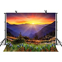 FUERMOR Beautiful Nature Mountain Photography Backdrop Photo Props 7x5FT Sunrise Scenery Background R615