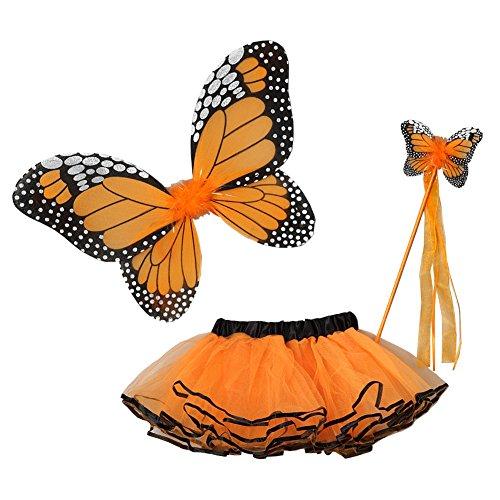 Little Girls Orange Butterfly Wings Wand Halloween Tutu 3 Pcs Set -