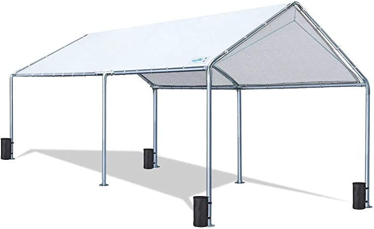 Amazon Com Quictent 10x20 Ft Upgraded Heavy Duty Carport Car Canopy Party Tent With Reinforced Steel Cables White Garden Outdoor