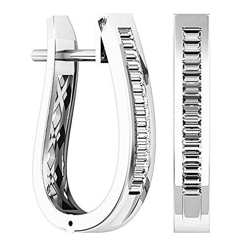 Dazzlingrock Collection 0.45 Carat (ctw) 10K Baguette Cut Diamond Ladies Huggies Fashion Hoop Earrings 1/2 CT, White Gold
