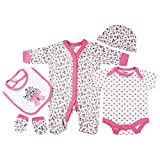 Baby-Girls Pink Floral Presents Gifts for Newborn Baby Girls Toddler Unisex Cute Clothing Sets Sleepsuit Vest Bib Hat Outfits Bundles Pack