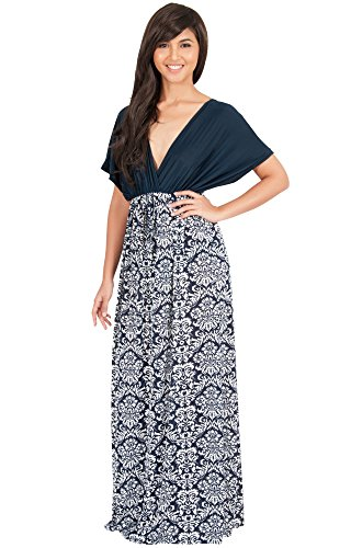 (KOH KOH Petite Women Long Flowy V-Neck Kimono Short Sleeve Cocktail Evening Formal Print Casual Summer Day Sun Maternity Gown Gowns Maxi Dress Dresses, Navy Blue and White XS 2-4 (1))