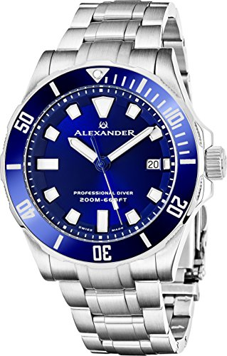 Alexander Professional Diver Watch Mens Blue Face Sapphire Crystal 200M Waterproof - Swiss Made Analog Quartz Dive Watch for Men Scuba Diving Unidirectional Rotating Bezel Stainless Steel Metal Band
