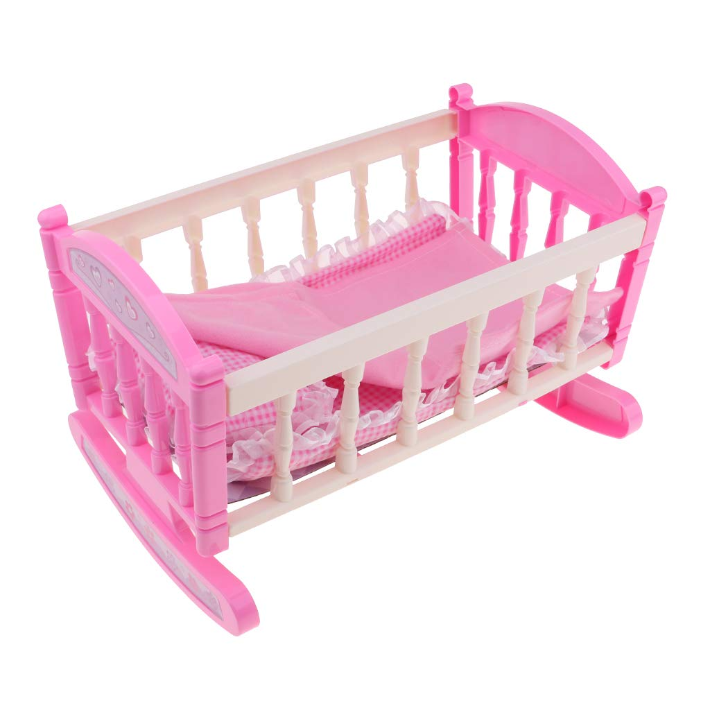 D DOLITY Pink 29*20cm Cradle Bed with Pillow Quilt Kit for 9-11inch Reborn Baby Girl Dolls Accessory