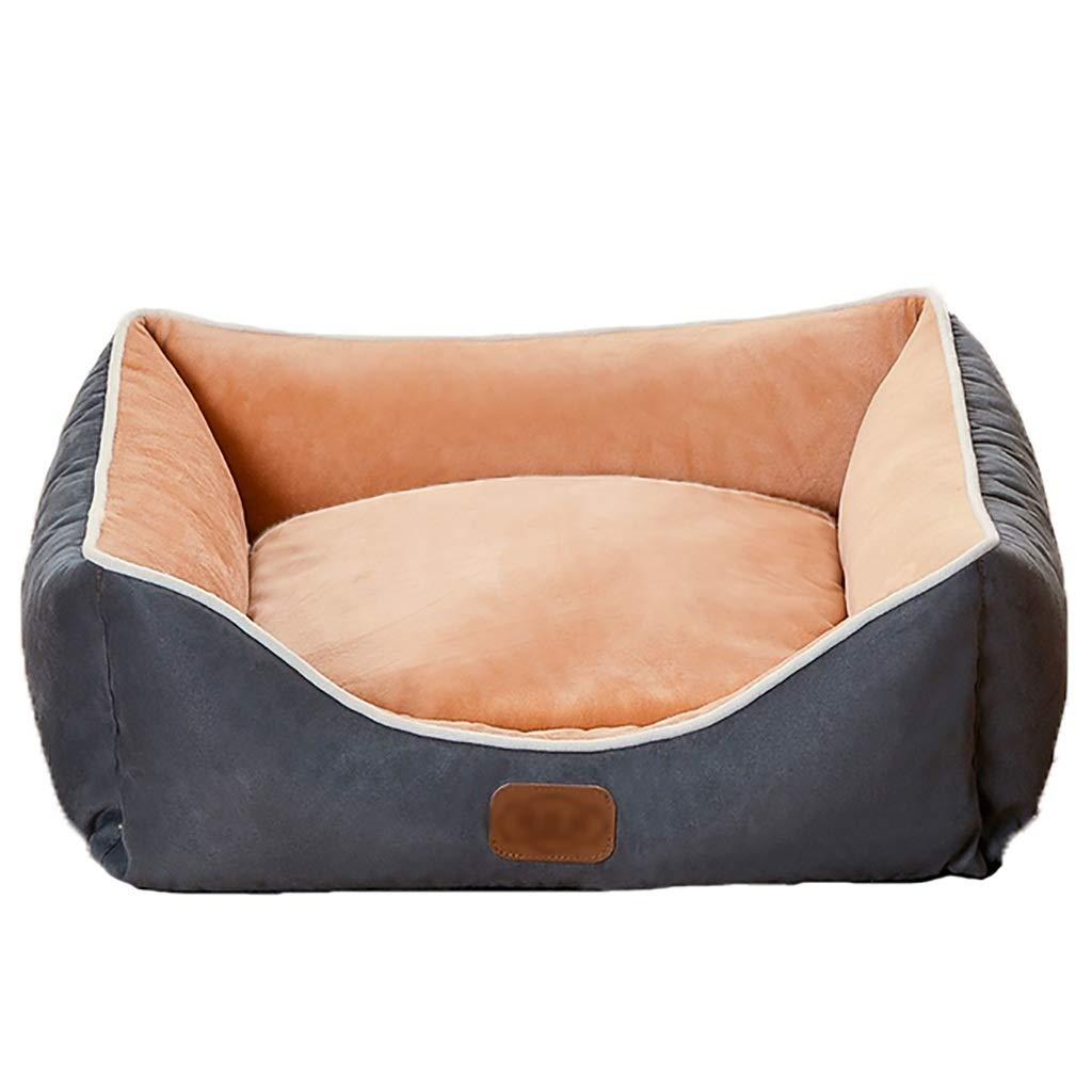 A 7565Pet house kennel Cat nest Washable Backrest paragraph Small dog Medium dog Large dog Pet nest Soft comfortable Four seasons available (color   B, Size   75  65)