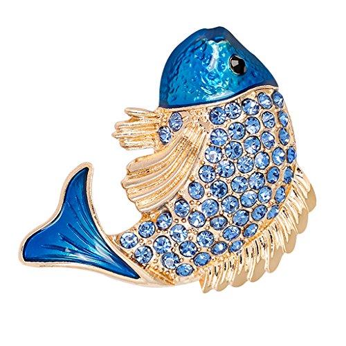 Baoblaze Cute Enamel Rhinestone Alloy Carp Fish Brooch Pins Women Jewelry Party Gifts - Blue