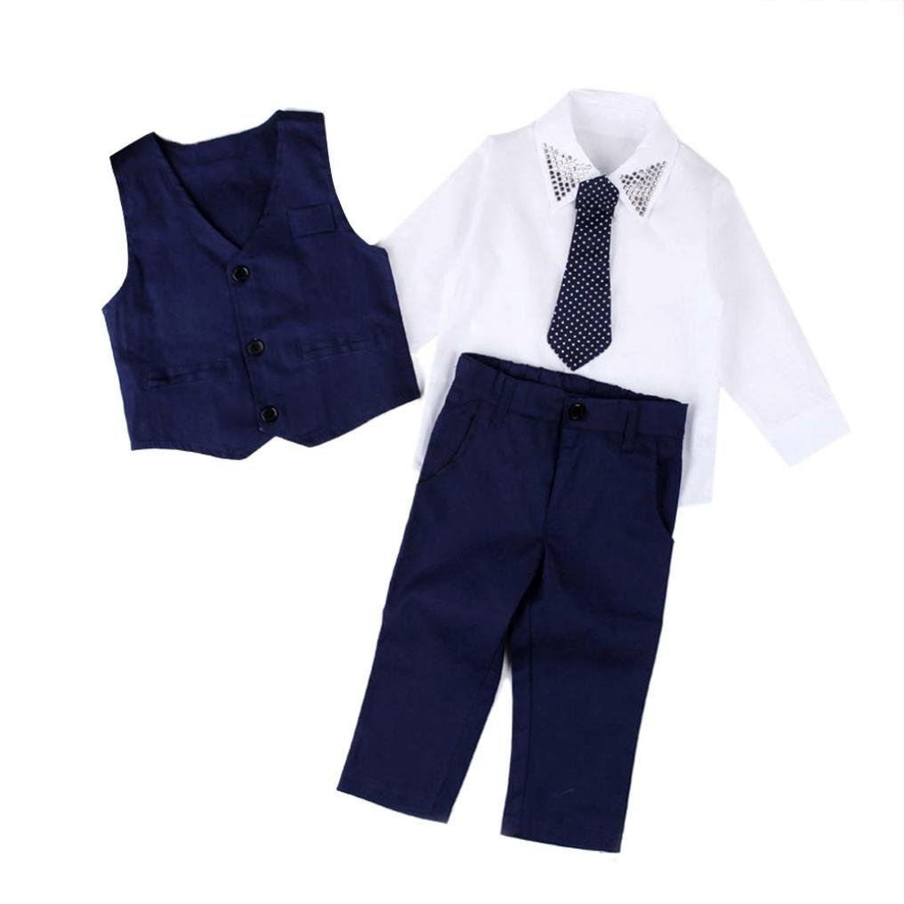 JUNNEY/_Baby Boys Gentleman Wedding Suits Shirts+Waistcoat+Long Pants+Tie Clothes 1Set