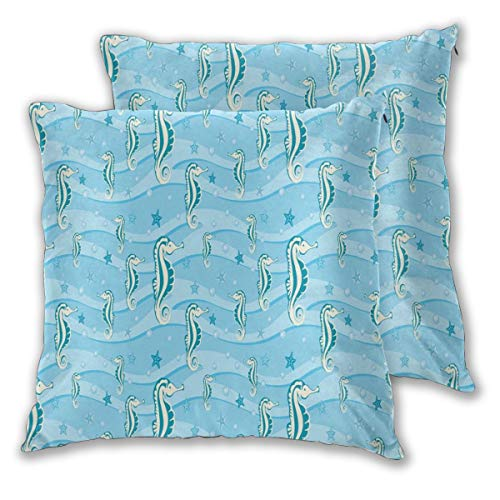 lsrIYzy Decorations Throw Pillow Cushion Cover Set of 2,Cartoon Style Abstract Waves Underwater Life Theme Sea Horse Starfishes,Square Accent Pillow Case 16x16 inches