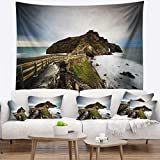 Designart TAP9476-80-68 'Path to Cape and Chapel in Spain' Seashore Photo Tapestry Blanket Décor Wall Art for Home and Office, x Large: 80 in. x 68 in, Created on Lightweight Polyester Fabric