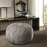Kelsey Round Pouf Ottoman Light Gray See below