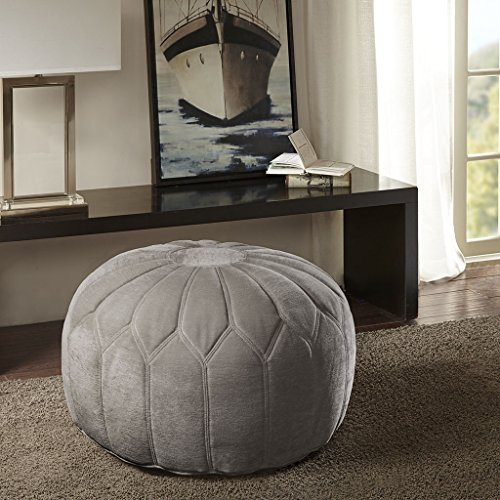 Kelsey Round Pouf Ottoman Light Gray See below by Madison Park