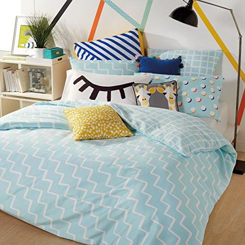 Scribble Zig Zag Comforter Set, Twin, Aqua