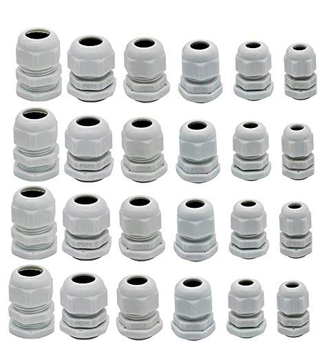 YXQ PG7 PG9 PG11 PG13.5 PG16 PG19 Waterproof Cable Gland Joints Adjustable Lock Nut Connector for 3-15mm Wire White Gery Plastic, 24-Pack