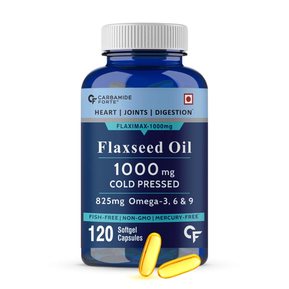 Carbamide Forte Cold Pressed Organic Flaxseed Oil 1000mg Omega 3 6 9 –120 Capsules