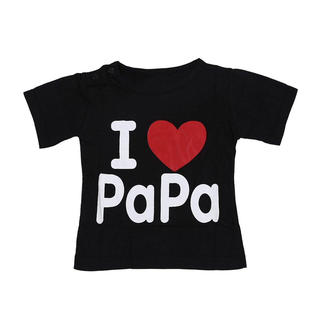 SODIAL Ropa de bebealgodon I love papa letras camiseta negra de manga corta I LOVE PAPA 110cm SODIAL(R) 050706H5