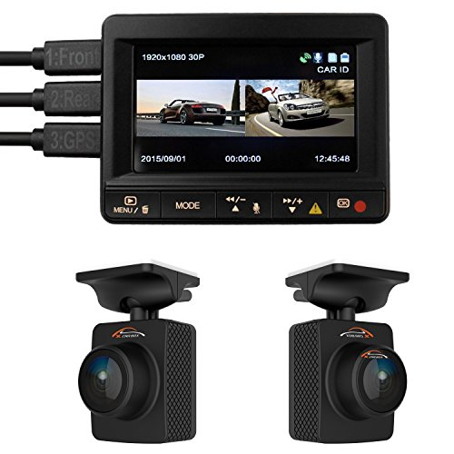 Dual Car Dash Camera K1S TWOBIU GPS Logger Front and Rear 1080p Remote Lens Cameras 140 Degree lenses 64GB microSD capacity Ambarella A7LA70