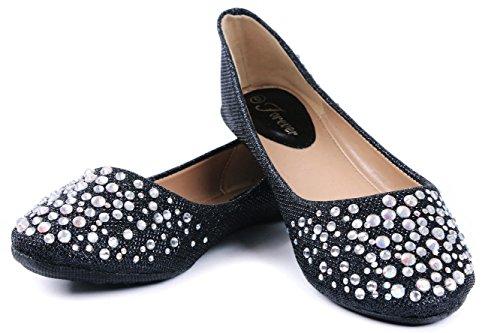 Bling Glitter Larisa Rhinestone Loafer Shoes Ballet Shoes Flat Slip Sparkling Black JJF qw7xf1EW