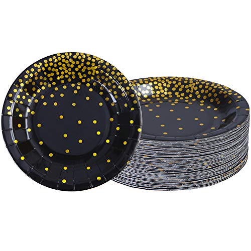 Aneco 60 Pieces 9 Inches Black Bronzing Disposable Paper Plates Dinnerware Plates Gold Foil Polka Dot Plates for Party Graduation Wedding Anniversary Birthday